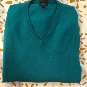 JCrew Slim Merino V-neck Sweater - M - Kelly Green